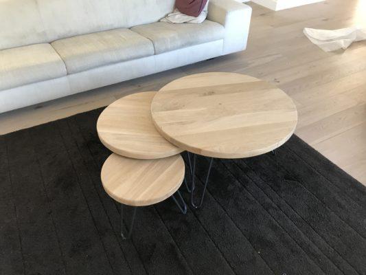 Driedelige ronde salontafeltjesset